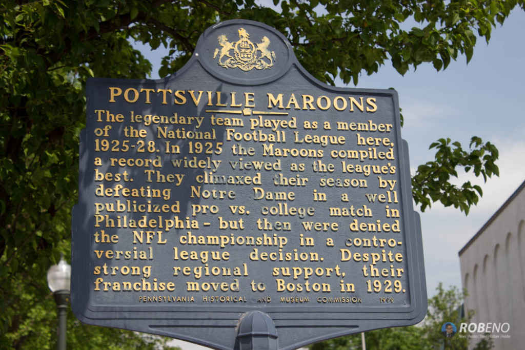 Photo: Pottsville Maroons Historical Marker, ©Rob Eno 2015